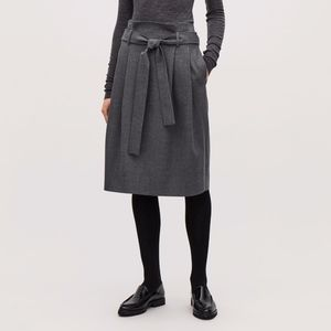NWT COS Wool Skirt With Paperbag Waist in Grey